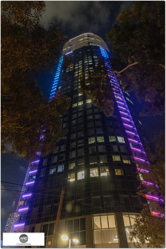 Colorful lighting for the tower
